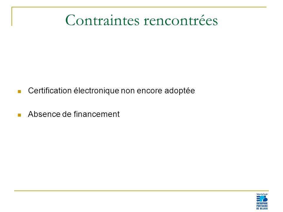 17 Contraintes rencontrées Certification électronique non encore adoptée Absence de financement