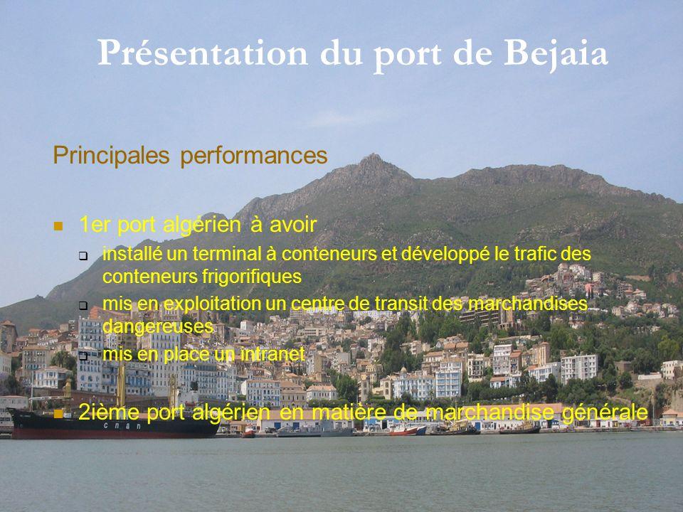 2 Présentation du port de Bejaia Principales performances 1er port algérien à avoir installé un terminal à conteneurs et développé le trafic des conte