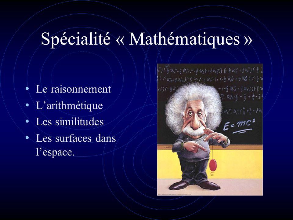 Spécialité « Mathématiques » Le raisonnement Larithmétique Les similitudes Les surfaces dans lespace.