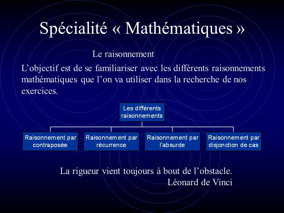 Spécialité « Mathématiques » Lobjectif est de se familiariser avec les différents raisonnements mathématiques que lon va utiliser dans la recherche de nos exercices.