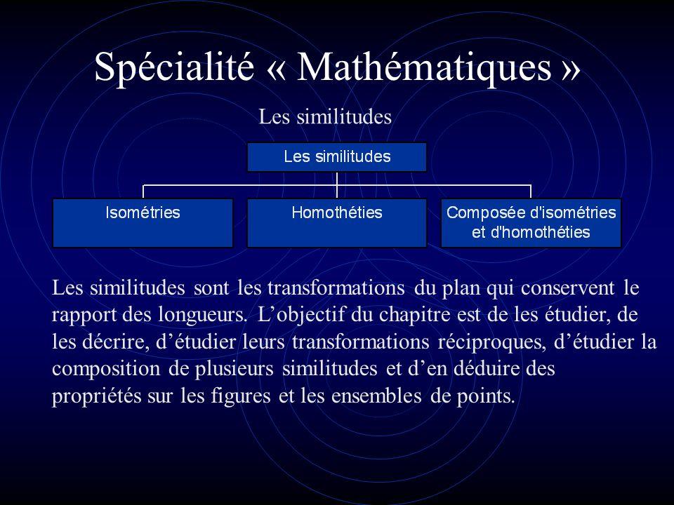 Spécialité « Mathématiques » Les similitudes Les similitudes sont les transformations du plan qui conservent le rapport des longueurs.