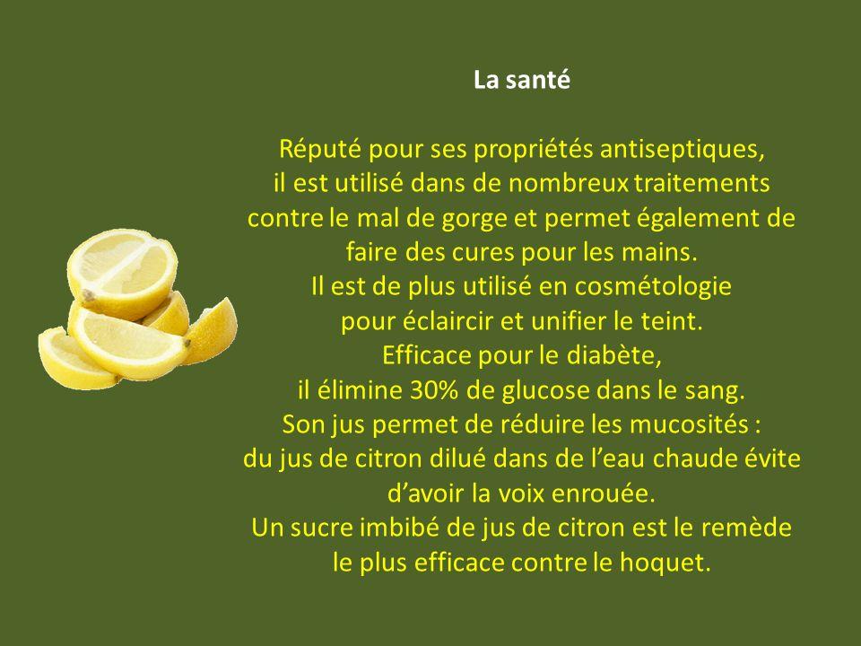 Apports et bienfaits Le citron est un véritable concentré de vitamine C. Selon le lieu et la date de récolte, le jus de citron peut contenir de 20 à 7