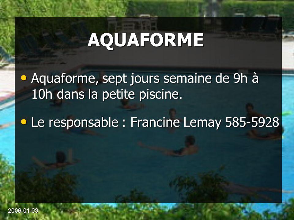 2006-01-03 AQUAFORME Aquaforme, sept jours semaine de 9h à 10h dans la petite piscine.