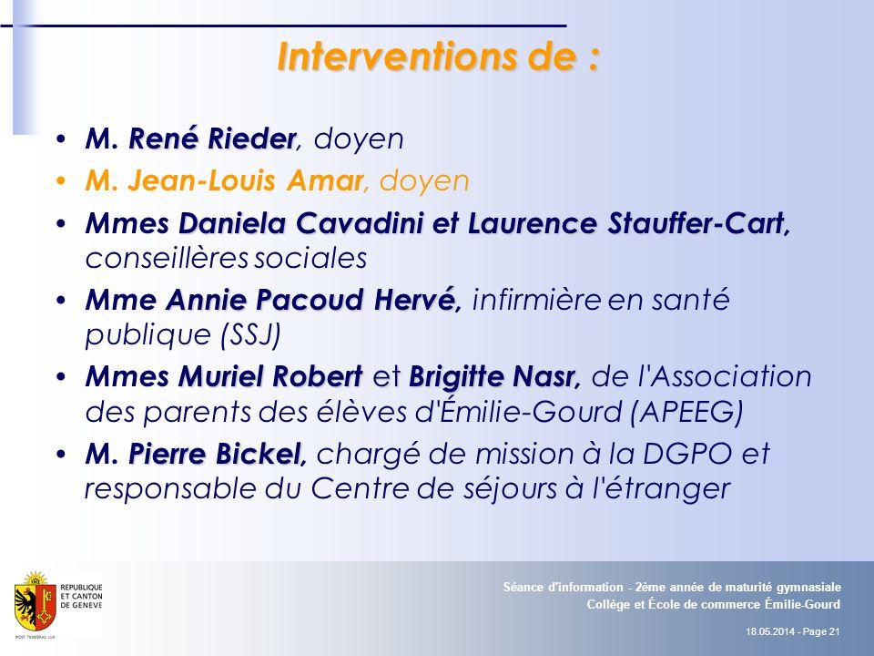 18.05.2014 - Page 21 Collège et École de commerce Émilie-Gourd Séance d information - 2ème année de maturité gymnasiale Interventions de : René Rieder M.