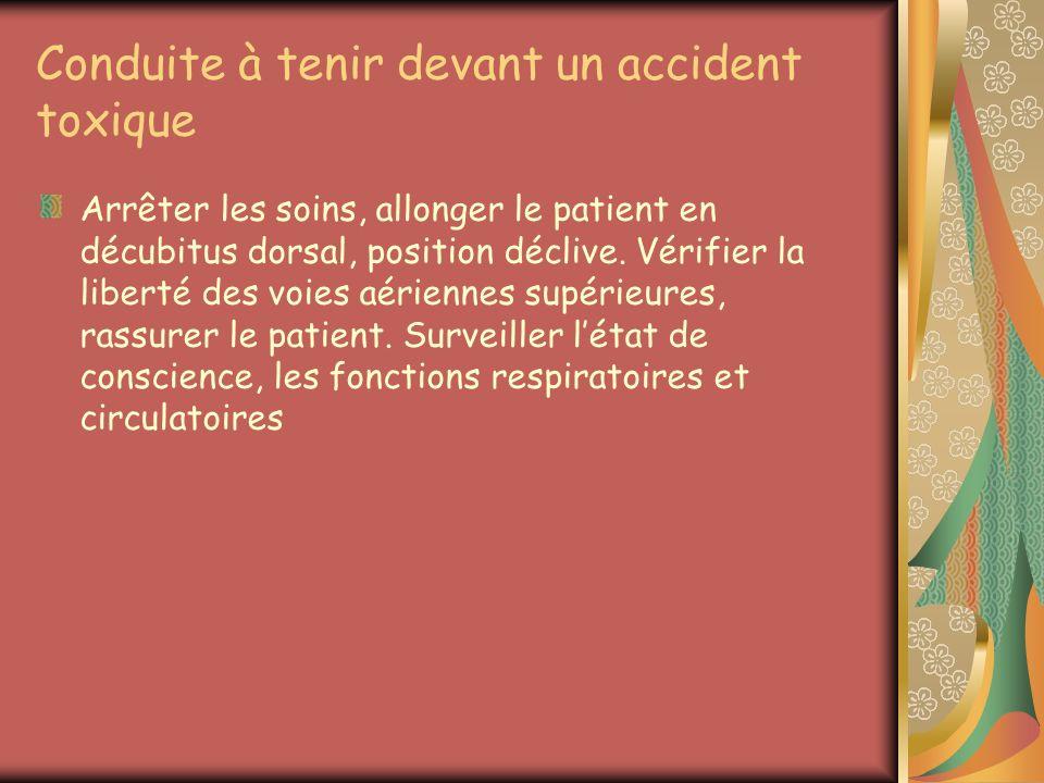 Conduite à tenir devant un accident toxique Arrêter les soins, allonger le patient en décubitus dorsal, position déclive. Vérifier la liberté des voie