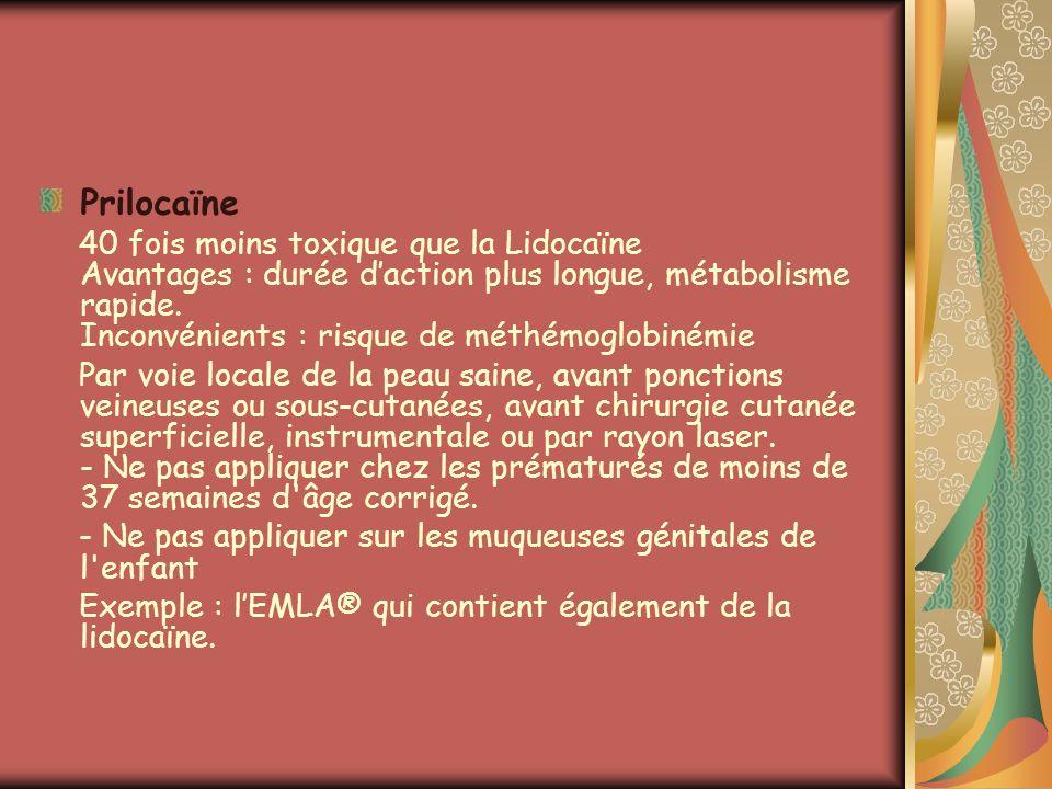 Prilocaïne 40 fois moins toxique que la Lidocaïne Avantages : durée daction plus longue, métabolisme rapide. Inconvénients : risque de méthémoglobiném