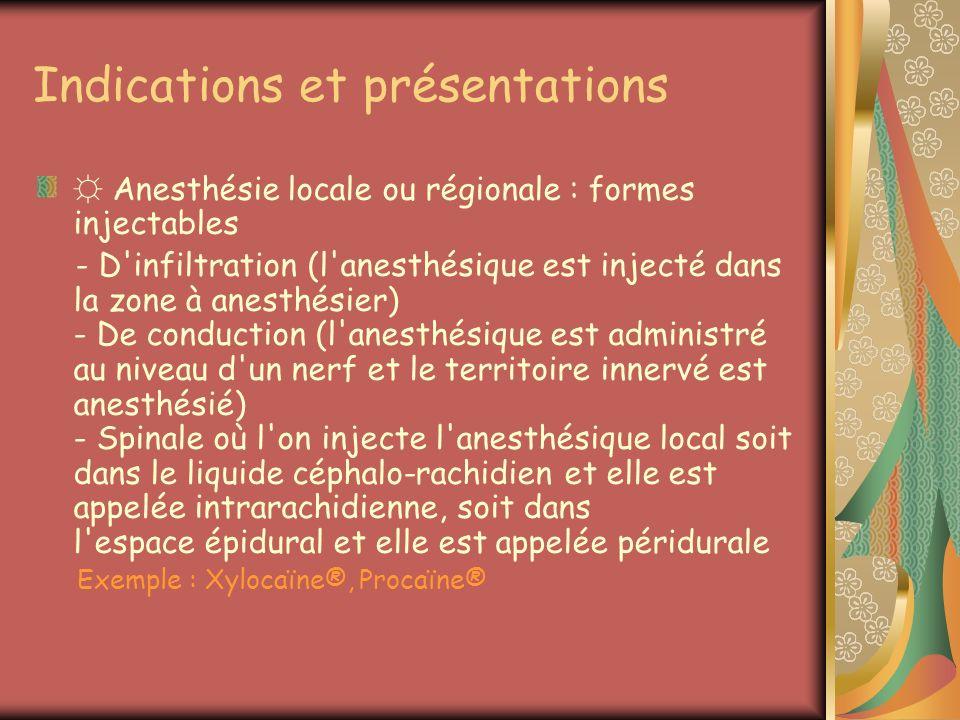 Indications et présentations Anesthésie locale ou régionale : formes injectables - D'infiltration (l'anesthésique est injecté dans la zone à anesthési