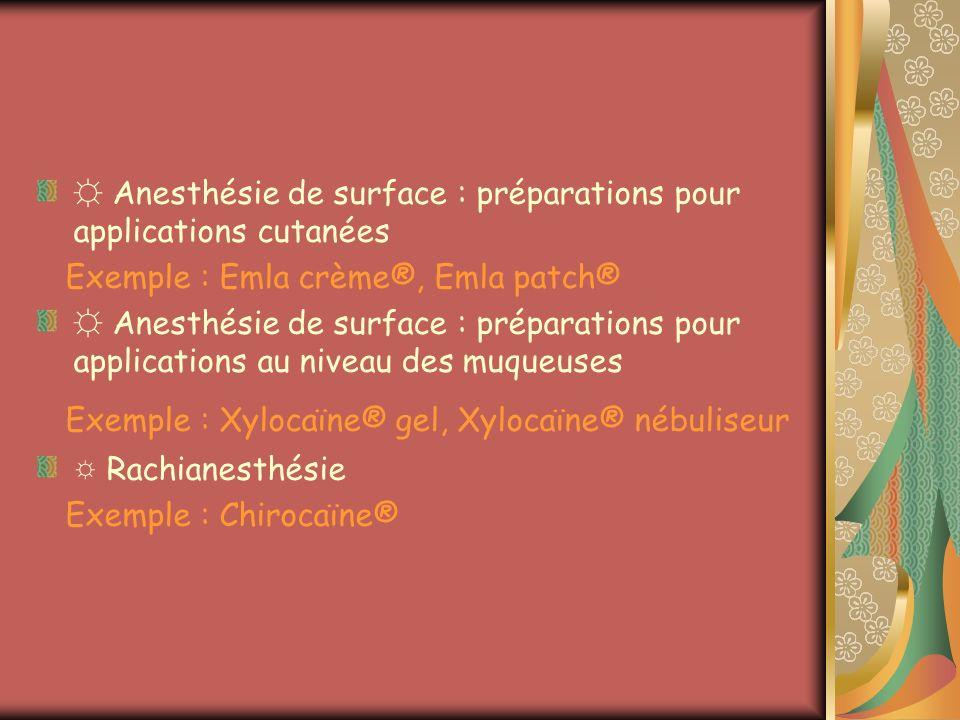 Anesthésie de surface : préparations pour applications cutanées Exemple : Emla crème®, Emla patch® Anesthésie de surface : préparations pour applicati