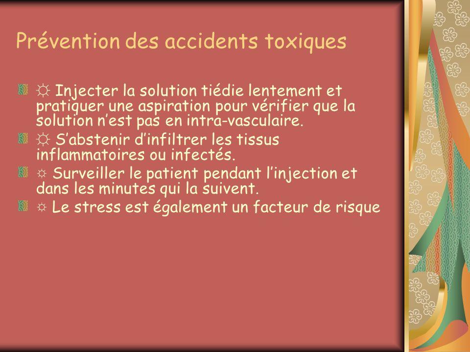 Prévention des accidents toxiques Injecter la solution tiédie lentement et pratiquer une aspiration pour vérifier que la solution nest pas en intra-va