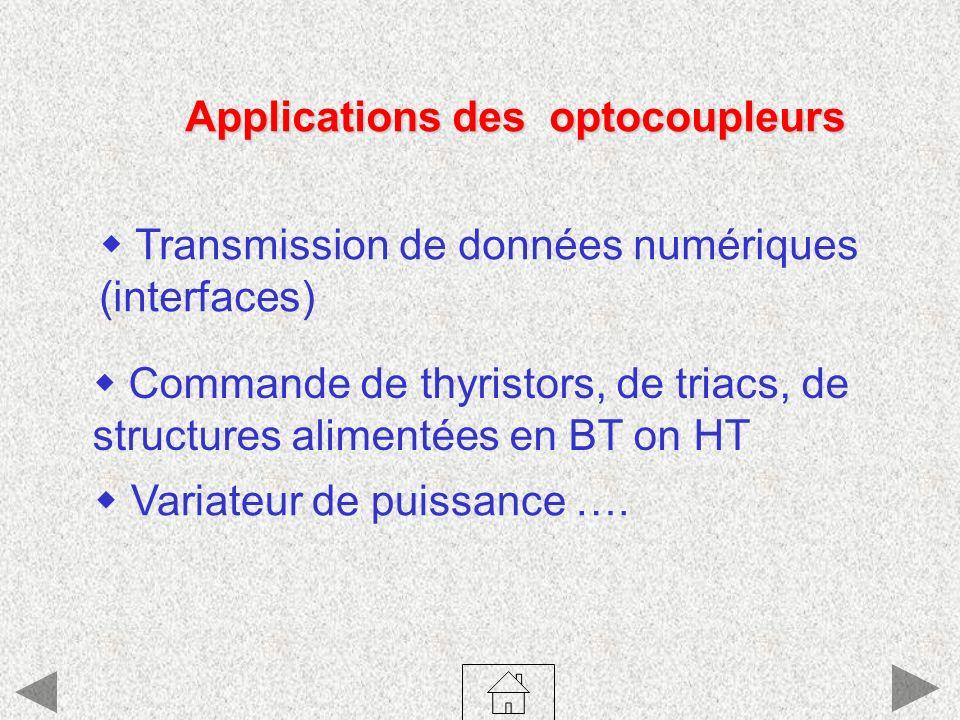 Applications des optocoupleurs Transmission de données numériques (interfaces) Variateur de puissance …. Commande de thyristors, de triacs, de structu