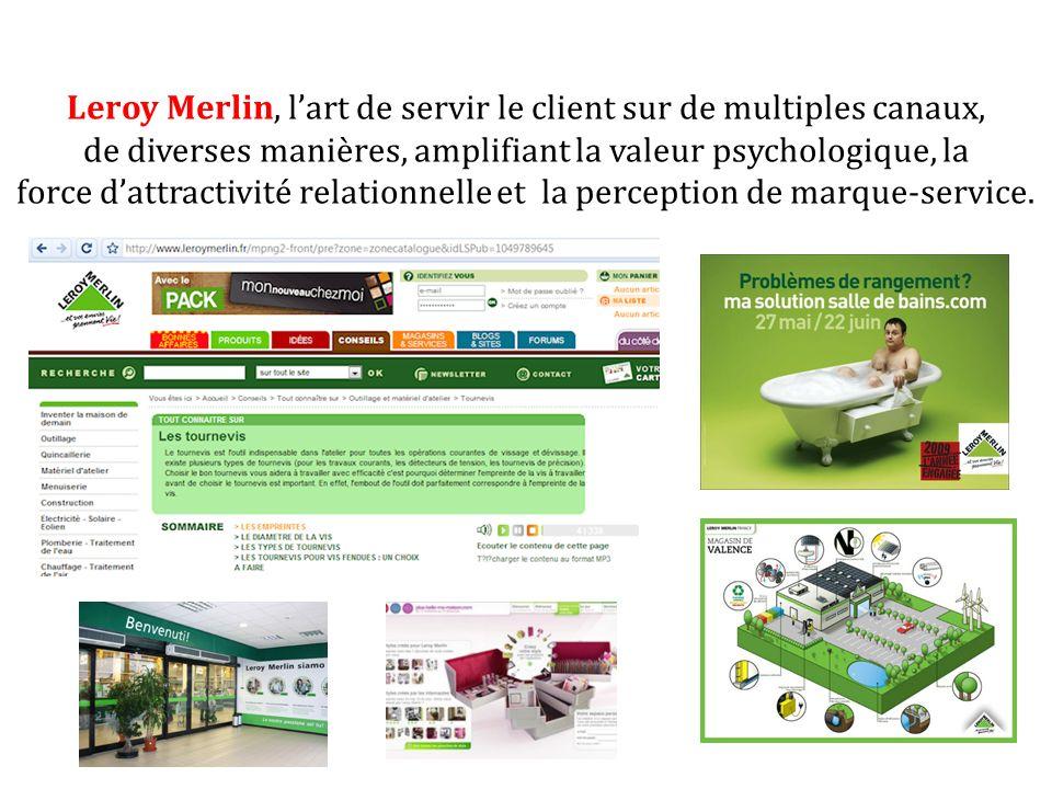 Leroy Merlin, lart de servir le client sur de multiples canaux, de diverses manières, amplifiant la valeur psychologique, la force dattractivité relat