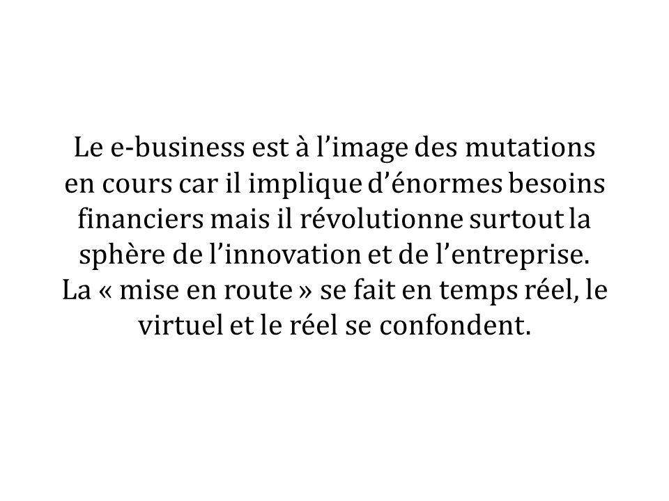 Le e-business est à limage des mutations en cours car il implique dénormes besoins financiers mais il révolutionne surtout la sphère de linnovation et