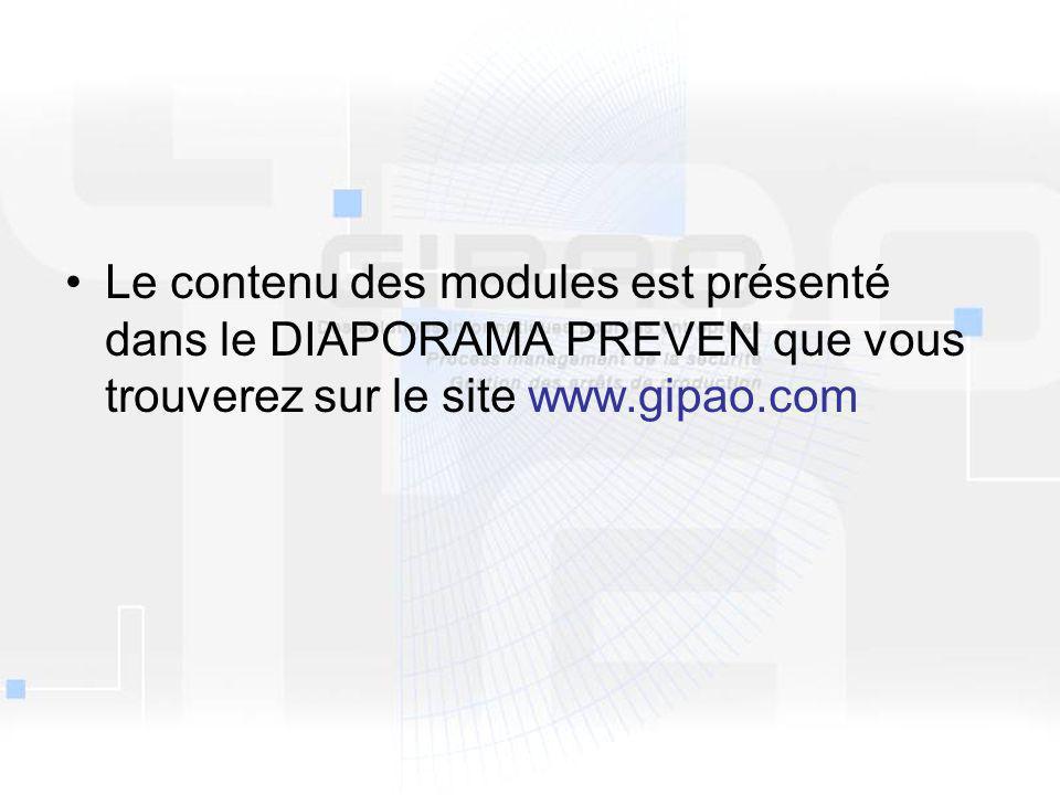 Le contenu des modules est présenté dans le DIAPORAMA PREVEN que vous trouverez sur le site www.gipao.com