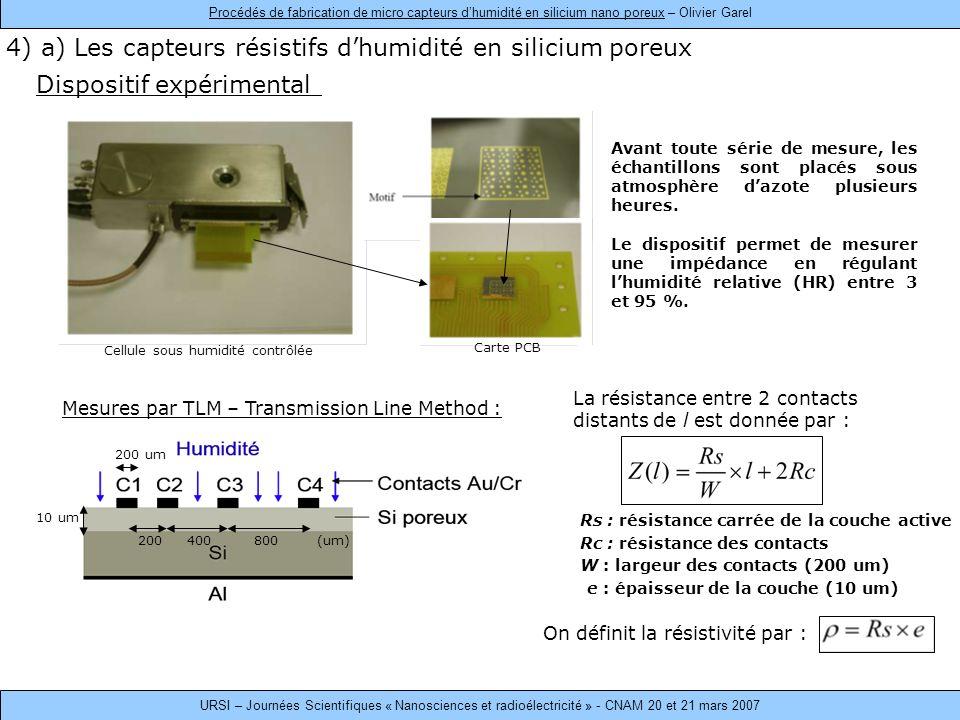 Dispositif expérimental 4) a) Les capteurs résistifs dhumidité en silicium poreux Avant toute série de mesure, les échantillons sont placés sous atmosphère dazote plusieurs heures.