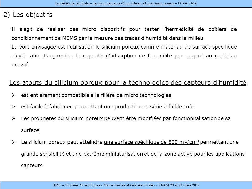 2)Les objectifs Il sagit de réaliser des micro dispositifs pour tester lherméticité de boîtiers de conditionnement de MEMS par la mesure des traces dhumidité dans le milieu.