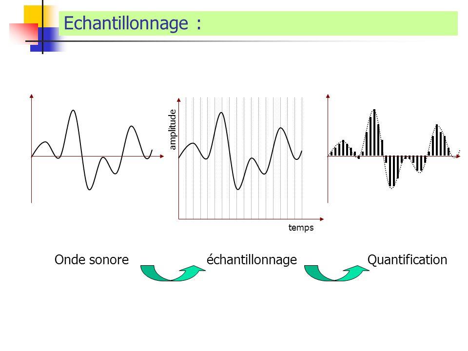 Echantillonnage : Onde sonoreéchantillonnageQuantification amplitude temps