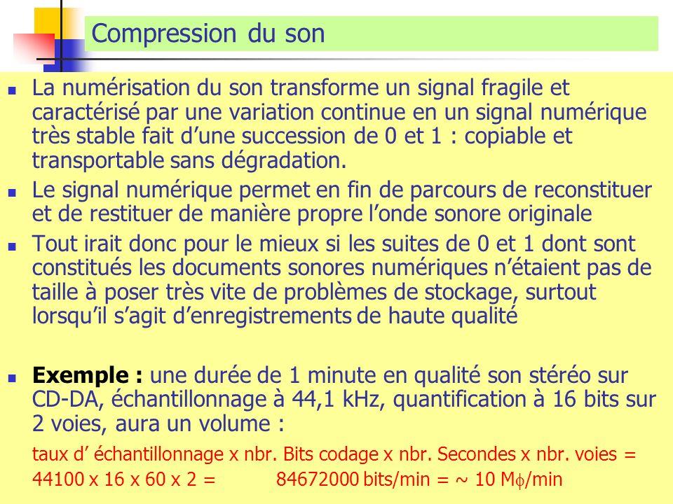 Compression du son La numérisation du son transforme un signal fragile et caractérisé par une variation continue en un signal numérique très stable fa