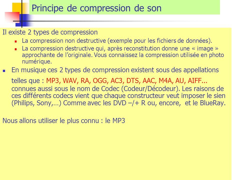 Principe de compression de son Il existe 2 types de compression La compression non destructive (exemple pour les fichiers de données). La compression