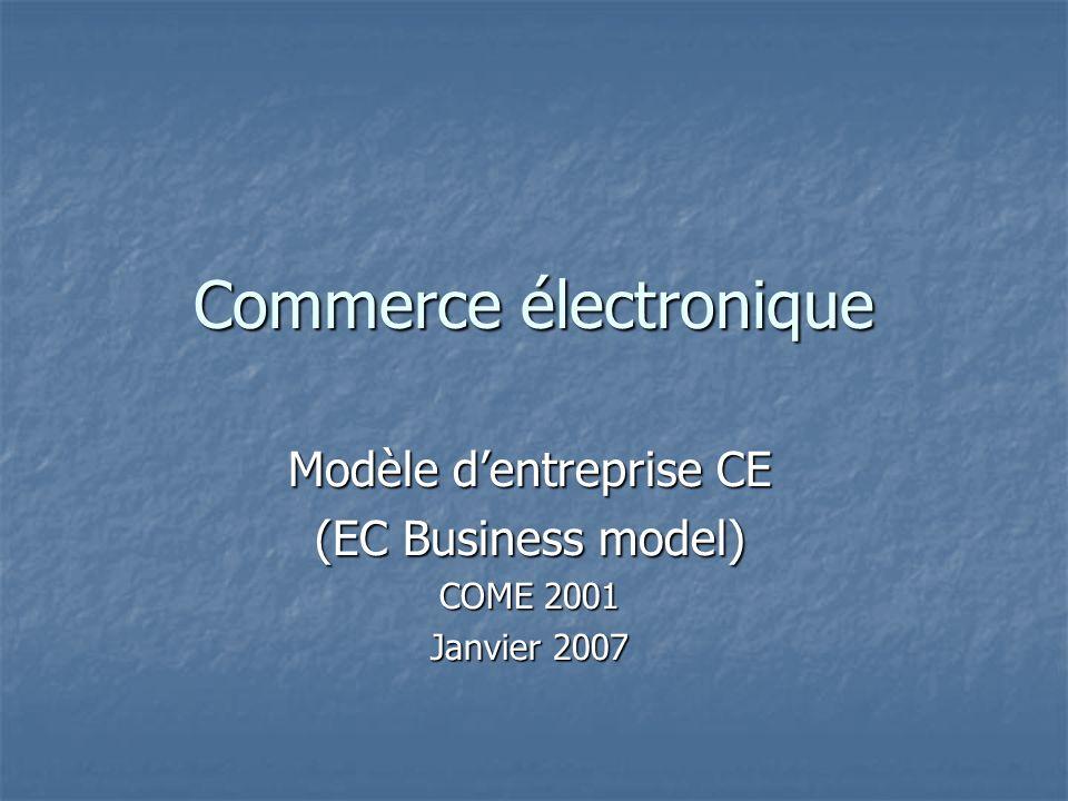 Commerce électronique Modèle dentreprise CE (EC Business model) COME 2001 Janvier 2007