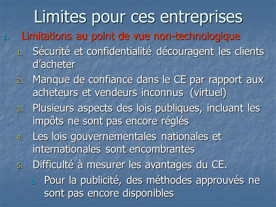 Limites pour ces entreprises 1. Limitations au point de vue non-technologique 1.