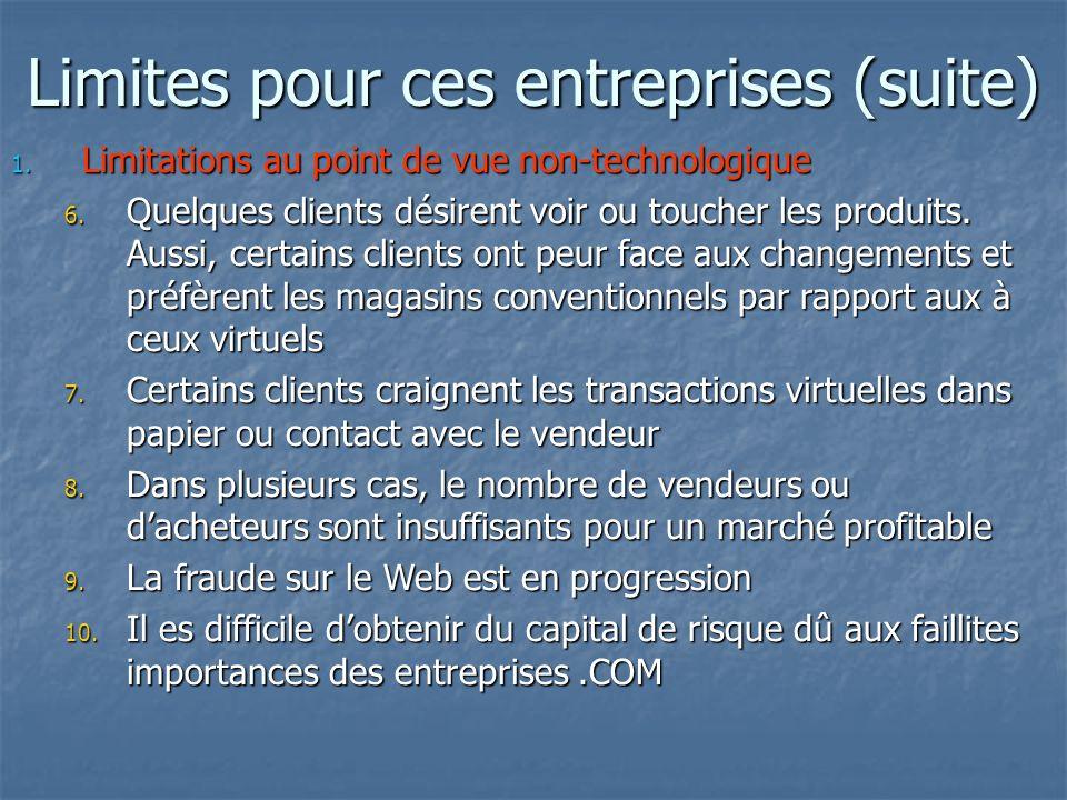 Limites pour ces entreprises (suite) 1. Limitations au point de vue non-technologique 6.