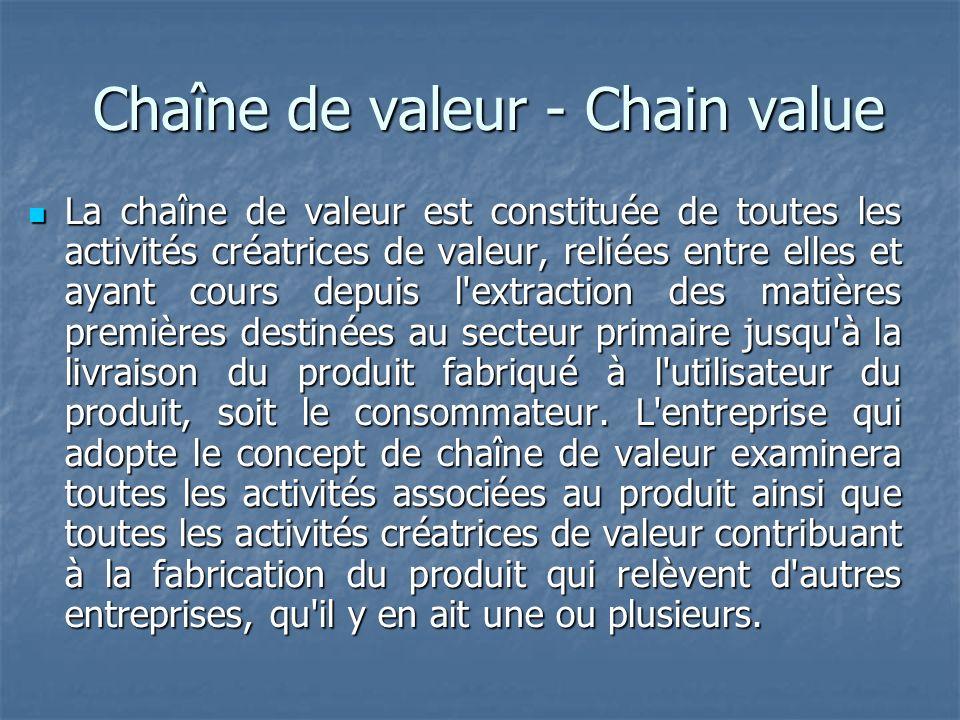 Chaîne de valeur - Chain value Chaîne de valeur - Chain value La chaîne de valeur est constituée de toutes les activités créatrices de valeur, reliées entre elles et ayant cours depuis l extraction des matières premières destinées au secteur primaire jusqu à la livraison du produit fabriqué à l utilisateur du produit, soit le consommateur.