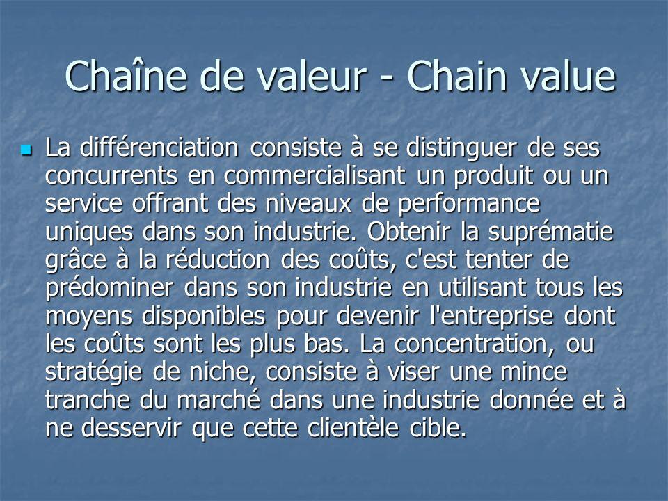 Chaîne de valeur - Chain value Chaîne de valeur - Chain value La différenciation consiste à se distinguer de ses concurrents en commercialisant un produit ou un service offrant des niveaux de performance uniques dans son industrie.