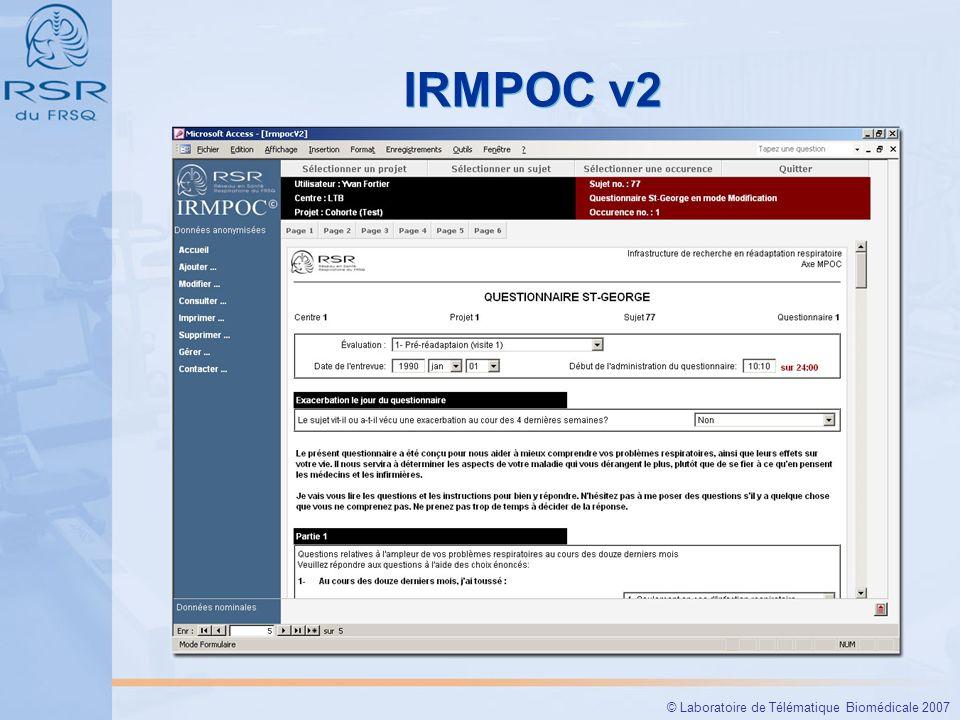 © Laboratoire de Télématique Biomédicale 2007 IRMPOC v2