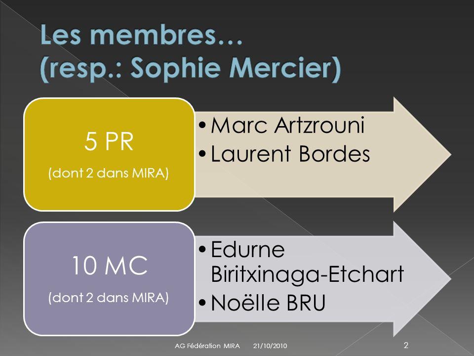 Marc Artzrouni Laurent Bordes 5 PR (dont 2 dans MIRA) Edurne Biritxinaga-Etchart Noëlle BRU 10 MC (dont 2 dans MIRA) 21/10/2010 AG Fédération MIRA 2