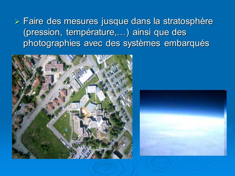 Faire des mesures jusque dans la stratosphère (pression, température,…) ainsi que des photographies avec des systèmes embarqués Faire des mesures jusq