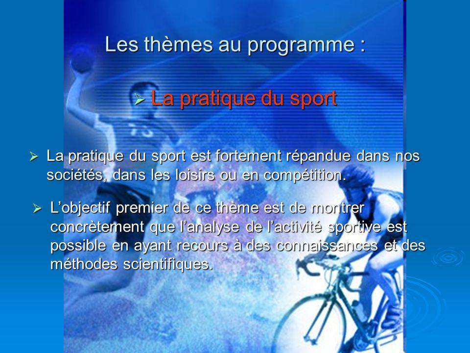 La pratique du sport La pratique du sport Les thèmes au programme : La pratique du sport est fortement répandue dans nos sociétés, dans les loisirs ou