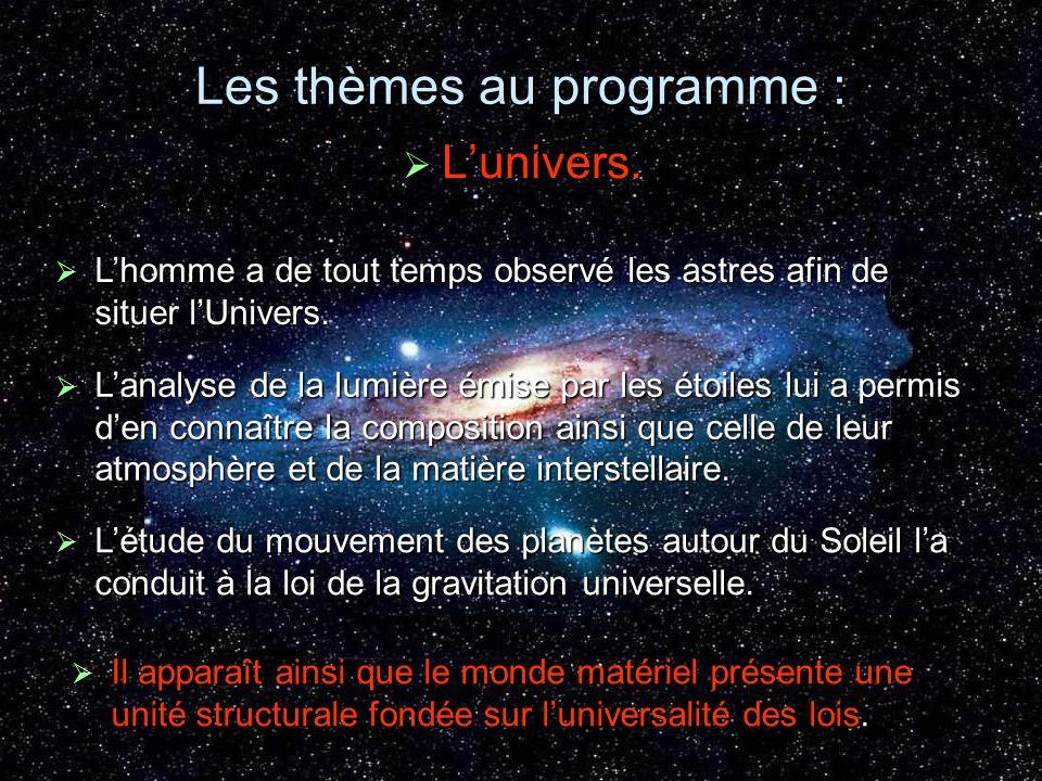 Les thèmes au programme : Lunivers. Lunivers. Lhomme a de tout temps observé les astres afin de situer lUnivers. Lhomme a de tout temps observé les as
