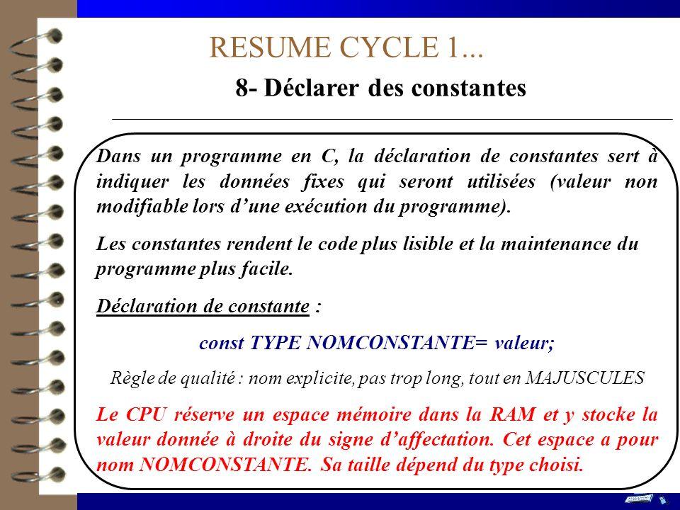 RESUME CYCLE 1... 8- Déclarer des constantes Dans un programme en C, la déclaration de constantes sert à indiquer les données fixes qui seront utilisé