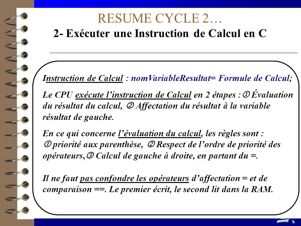 RESUME CYCLE 2… 2- Exécuter une Instruction de Calcul en C Instruction de Calcul : nomVariableResultat= Formule de Calcul; Le CPU exécute linstruction