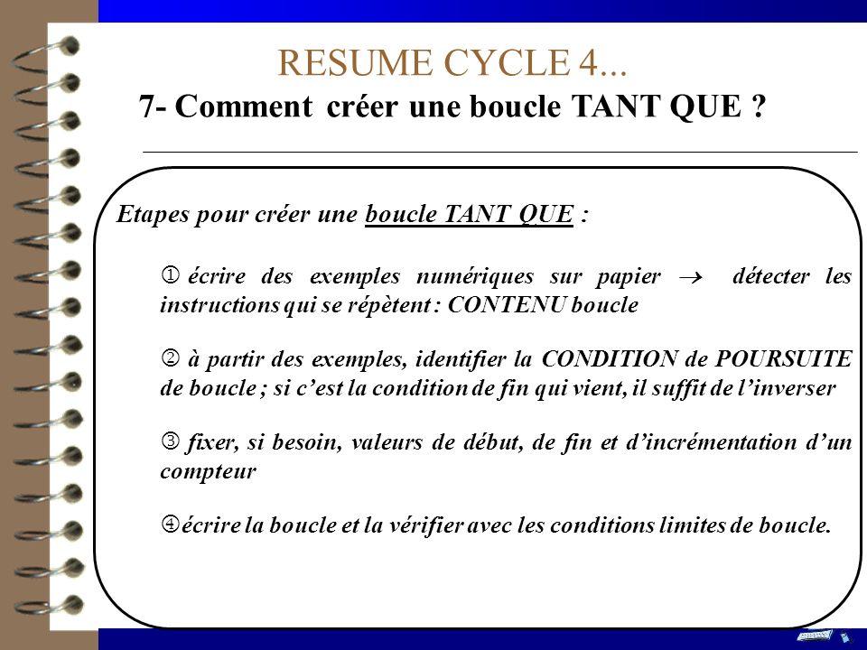 RESUME CYCLE 4... 7- Comment créer une boucle TANT QUE ? Etapes pour créer une boucle TANT QUE : écrire des exemples numériques sur papier détecter le