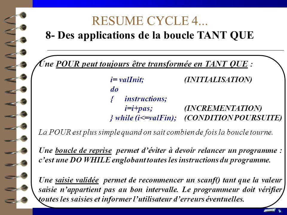 RESUME CYCLE 4... 8- Des applications de la boucle TANT QUE Une POUR peut toujours être transformée en TANT QUE : i= valInit; (INITIALISATION) do {ins