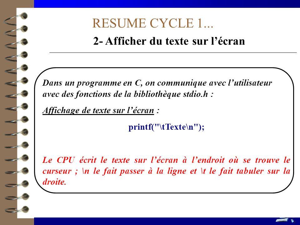 RESUME CYCLE 1... 2- Afficher du texte sur lécran Dans un programme en C, on communique avec lutilisateur avec des fonctions de la bibliothèque stdio.