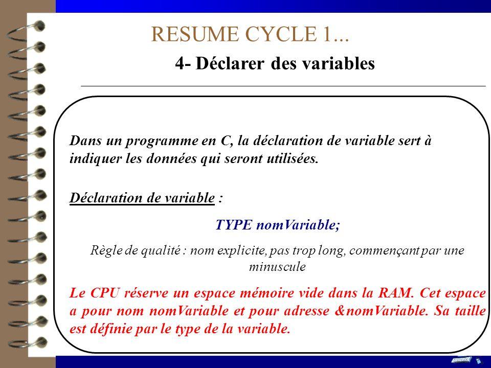 RESUME CYCLE 3...2- Ecrire linstruction alternative SI-(SINON) .