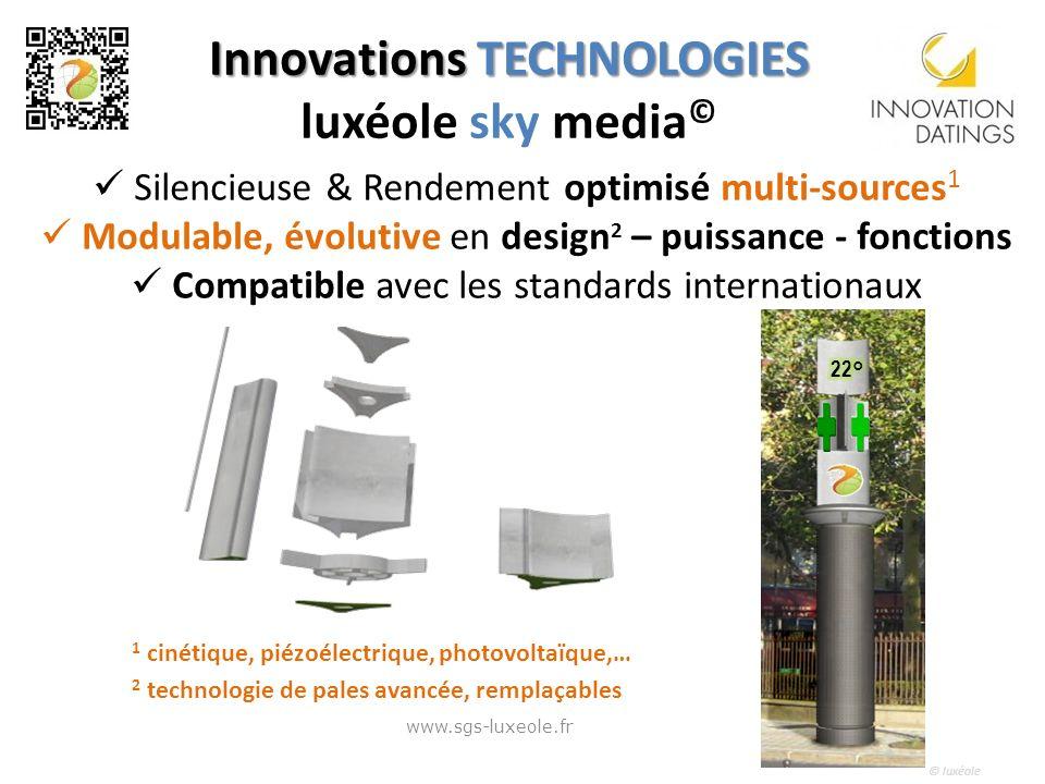 © luxéole Silencieuse & Rendement optimisé multi-sources 1 Modulable, évolutive en design 2 – puissance - fonctions Compatible avec les standards inte