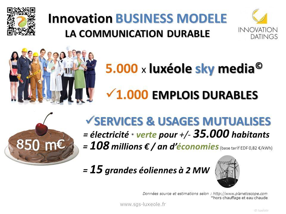 © luxéole Innovation BUSINESS MODELE LA COMMUNICATION DURABLE = électricité * verte pour +/- 35.000 habitants = 108 millions / an déconomies (base tarif EDF 0,82 /kWh) = 15 grandes éoliennes à 2 MW Données source et estimations selon : http://www.planetoscope.com *hors chauffage et eau chaude www.sgs-luxeole.fr 5.000 x l ll luxéole sky media© 1.000 E EE EMPLOIS DURABLES S SERVICES & USAGES MUTUALISES