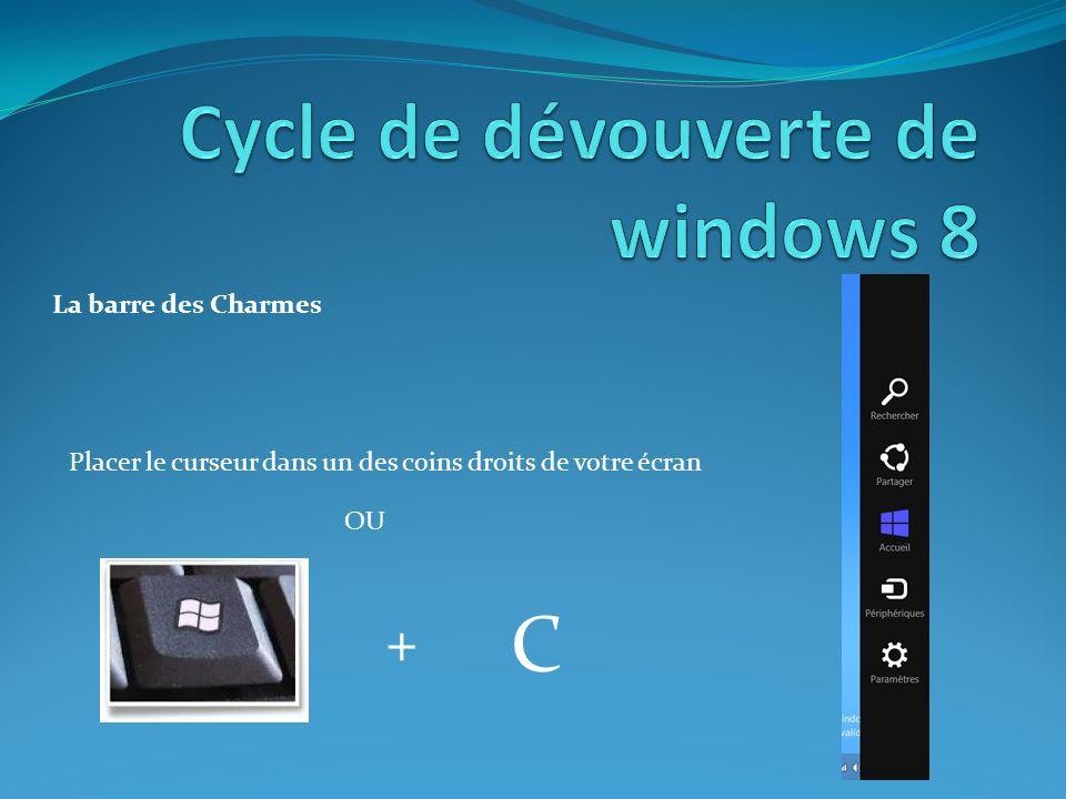 La barre des Charmes Placer le curseur dans un des coins droits de votre écran OU + C