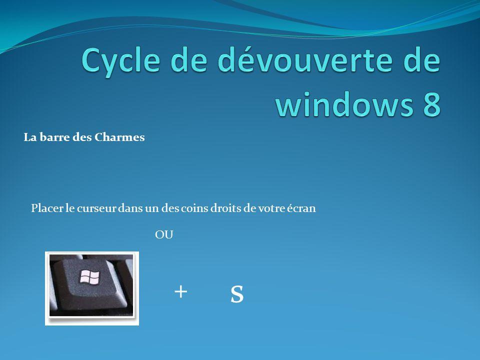 La barre des Charmes Placer le curseur dans un des coins droits de votre écran OU + s