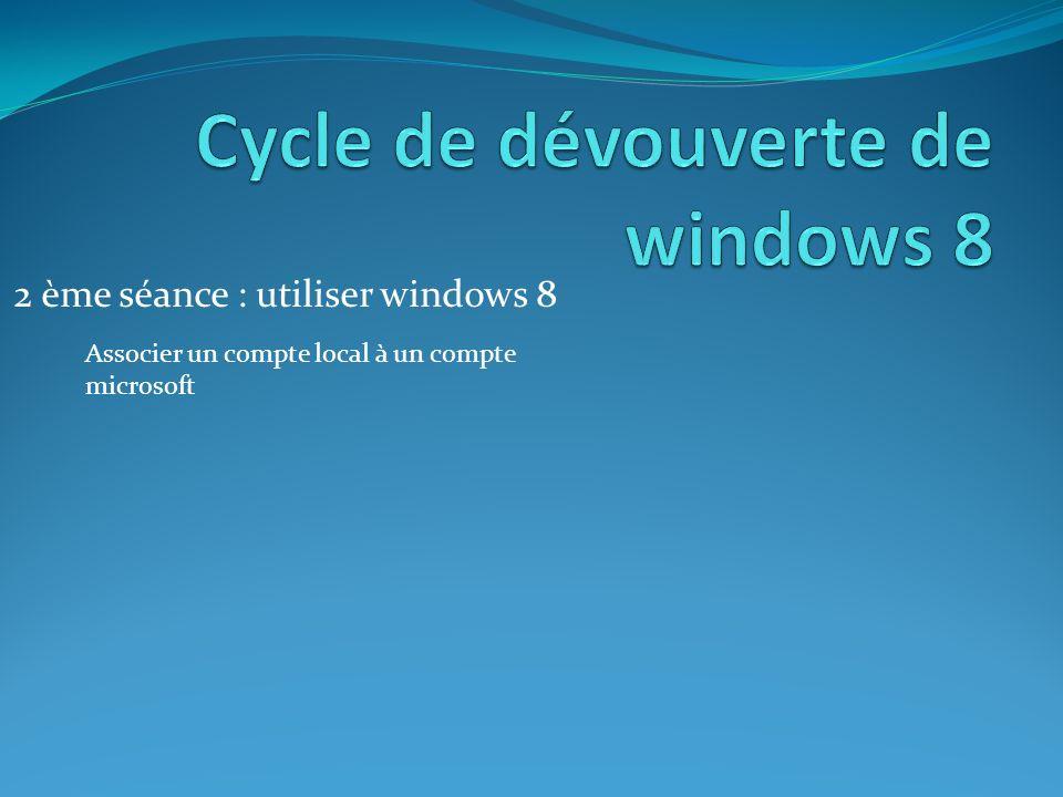 2 ème séance : utiliser windows 8 Associer un compte local à un compte microsoft
