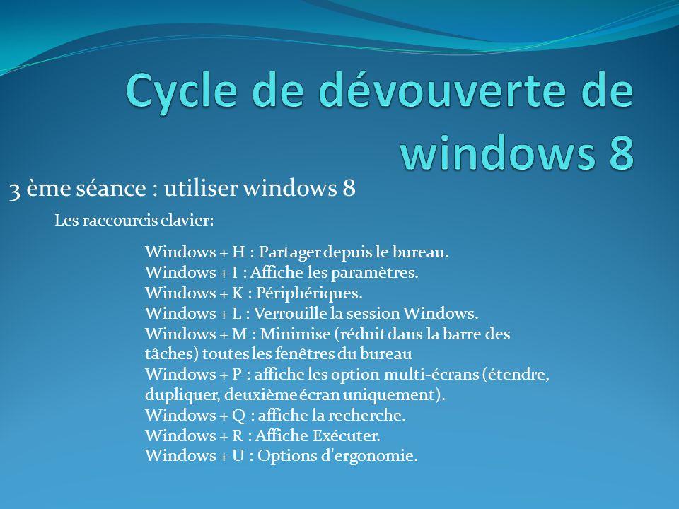 3 ème séance : utiliser windows 8 Les raccourcis clavier: Windows + H : Partager depuis le bureau.