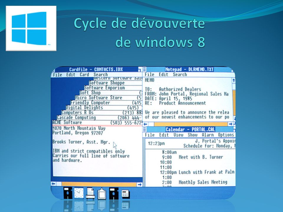 De MS DOS à WINDOWS 8 1987 – Sortie de windows 2.0
