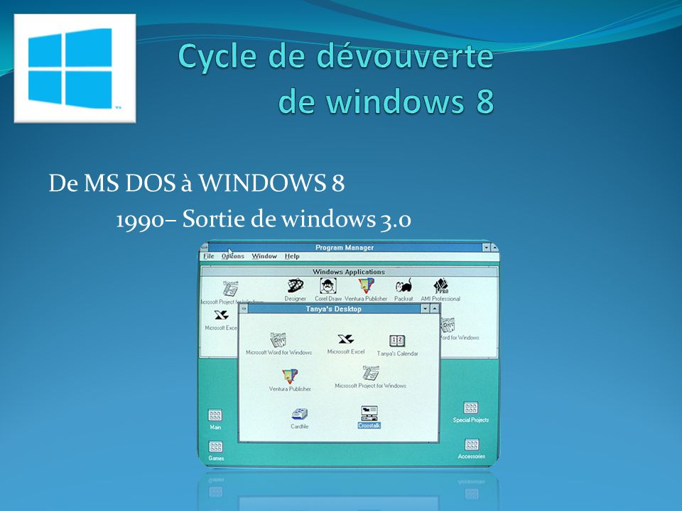 De MS DOS à WINDOWS 8 1990– Sortie de windows 3.0