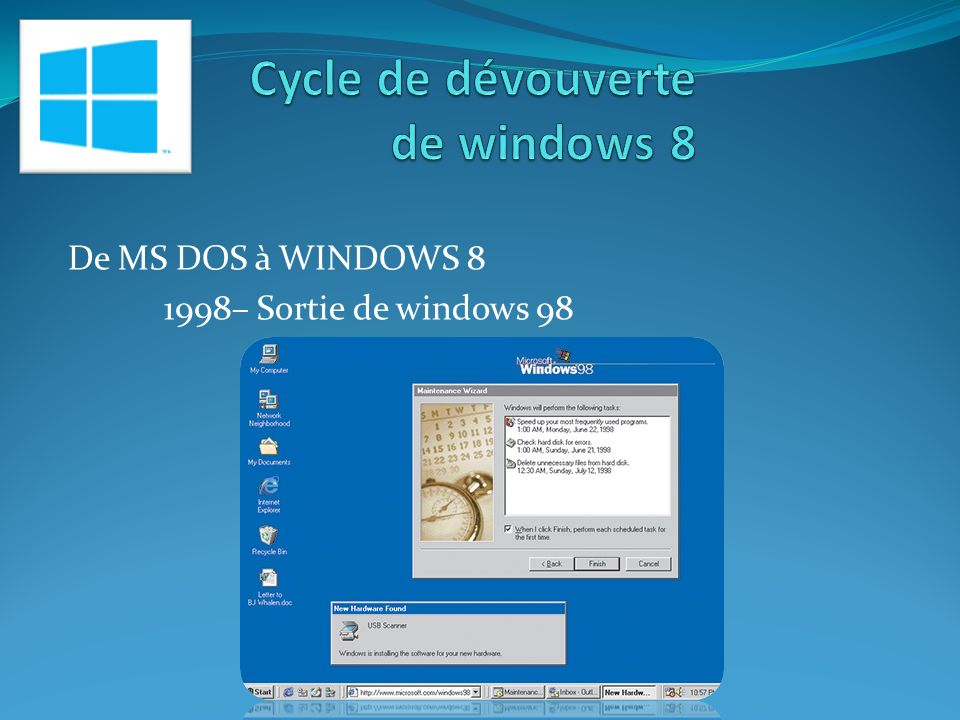 De MS DOS à WINDOWS 8 2000– Sortie de windows 2000 professionnel 2001 – sortie de windows XP, le plus stable ….