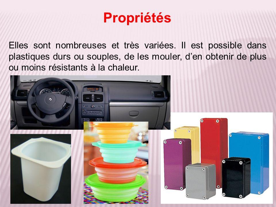 Elles sont nombreuses et très variées. Il est possible dans plastiques durs ou souples, de les mouler, den obtenir de plus ou moins résistants à la ch