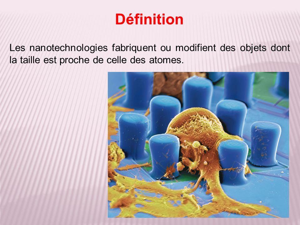 Les nanotechnologies fabriquent ou modifient des objets dont la taille est proche de celle des atomes. Définition