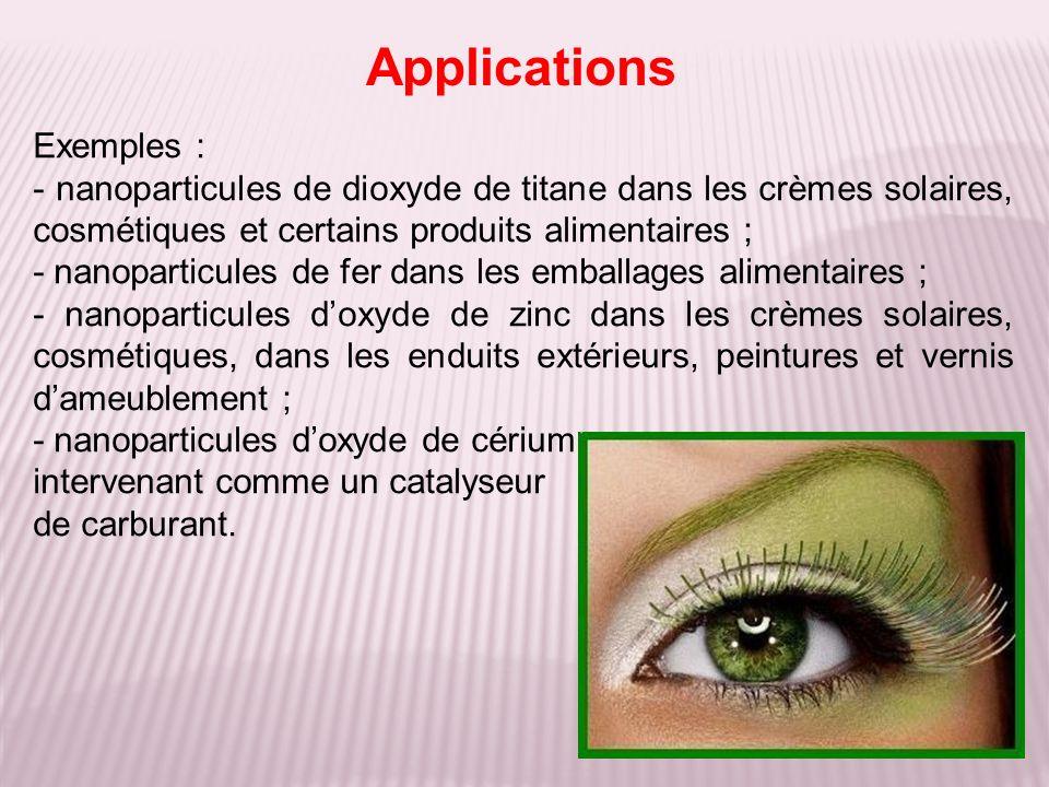 Exemples : - nanoparticules de dioxyde de titane dans les crèmes solaires, cosmétiques et certains produits alimentaires ; - nanoparticules de fer dan